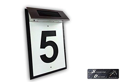 Hausnummer Türschild Plexiglas im Negativ auf Schiefer mit LED und Lasergravur