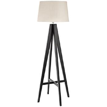 Dark wood tripod floor lamp amazon lighting searchlight contemporary dark wood floor lamp with cream linen shade 3540br mozeypictures Image collections