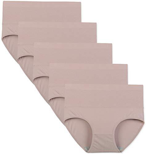 INNERSY Damen Unterwäsche Baumwolle Postpartum Bauchstütze Grosse Groessen Panties 5er Pack (XL-EU 44, Rosa grau) (Baumwolle Damen-unterwäsche)