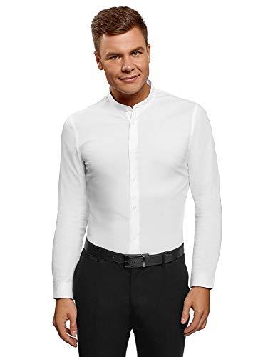 Oodji ultra uomo camicia slim fit con collo alla coreana, bianco, 41cm / it 48 / eu 41 / m