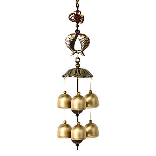 JHEY Draußen Vintage Metall Kupfer Windspiel Hängende Tür Dekoration Anhänger Kreative Heimat Balkon Stadthaus Feng Shui Glücksglocke Bambus (Color : Koi, Größe : 46cm)