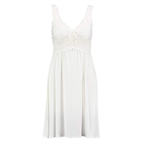 Hunkemöller Damen Slipdress Modal Lace Weiß L96311