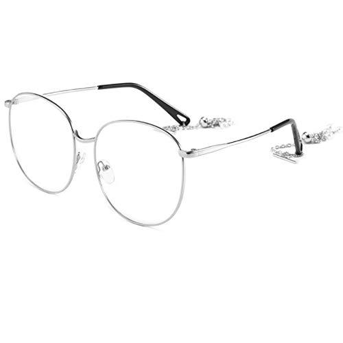 CHKE Retro Ocean Sonnenbrillen, Metall Big Frame Sonnenbrillen Fashion Lady Sonnenbrillen Ocean Sonnenbrillen Professionelle Aviator Sonnenbrillen Farbige getönte Gläser,Transparent