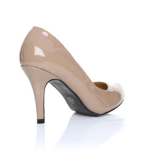 ShuWish UK - Damen Pumps Pearl Lackleder PU Leder Stöckelschuhe Klassisch Dunkel Hautfarbe Lackleder