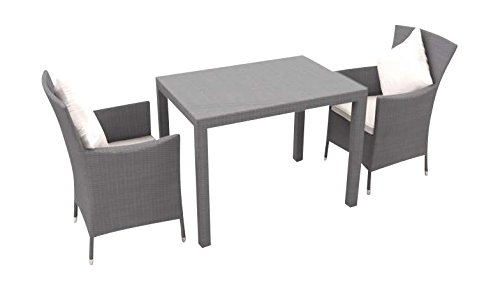 ARTELIA - Ceres XS Polyrattan Balkonmöbel Set, Gartenmöbel-Set für Garten, Terrasse, Wintergarten und Balkon, Sitzgruppe grau