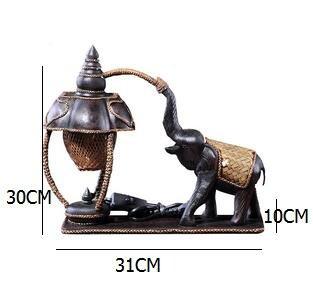 longmen Südost-Thailand schnitzte die Tabellen-Lampenelefantlampe, die warme Bambushoteldekoration der Retro- Schlafzimmernachttischlampe beleuchtet -