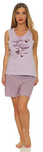 Kurzer Damen-Pyjama sommerlicher Schlafanzug in 7 verschiedenen Modellen • luftige leichte Baumwolle • Trends 2017 • Grösse 36/38 bis 48/50 lieferbar lila mit Motiv & Spitze