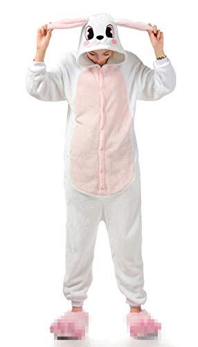 VineCrown Damen Schlafanzug Tier Pyjamas Overall Cosplay Strampelanzüge Nachthemden Kleid Karikatur Neuheit Jumpsuit Kostüme für Erwachsene Kinder Weihnachten Karneval (M for 160CM-168CM, Rosa Hase)