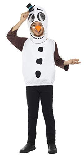 Smiffys Kinder Unisex Schneemann Kostüm, Oberteil, Karotten Nase und Kopfteil mit linsenförmigen 3D Augen, Alter: 36-38 Jahre, 48073