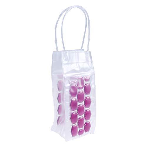 BESTONZON 750 ML PVC Champagne Vin Pouch Cooler Bag Ice Sac fourre-Tout en Gel Transparent de Protection de Transport avec poignée (Violet)