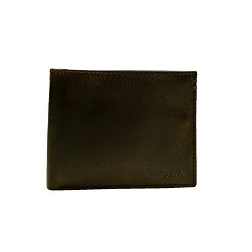 Fossil Geldbörse Wade Large Coin Pocket Bifold Schwarz Herren Portemonnaie Leder Börse Geldbeutel Brieftasche Lederbörse (Herren-geldbörse Bi-fold)