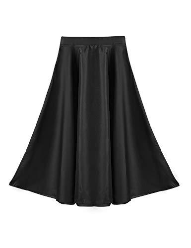 YiZYiF Faldas Flamencas Largas para Niñas Chicas Faldas Casuales Flamenco Danza Sevillana Ropa Bailarina Práctica de Baile Moderno 6-14 Años Negro 8 Años
