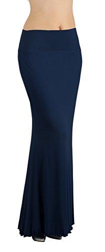 Damen Maxirock Lang Skirt Blau Marine Rock Konzertrock Maxikleid Frau Rock Slinky Strecke DE 38 =Etikett L