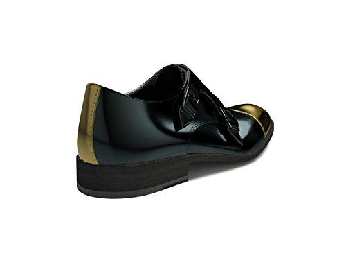 Noir Brillant Mesure Homme Peinture Bqton Moine Double Sur Chaussures xWrdoeCBQE