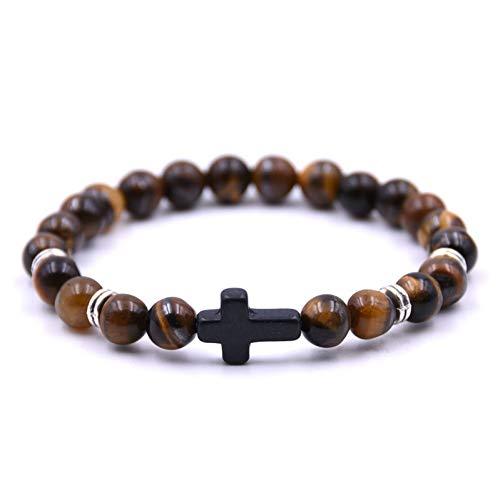 HMKLN heiße großhandel Unisex naturstein Kreuz männer Armband DIY schwarz matt perlen mehrere Farbe armbänder