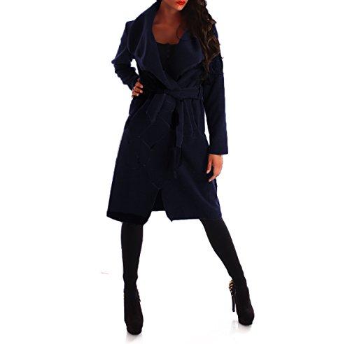 Damen Mantel Trenchcoat mit Gürtel One Size lang Navy