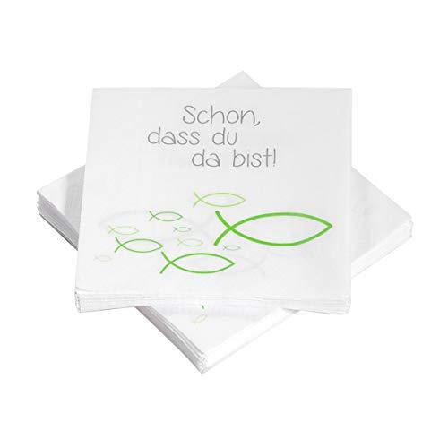 20 Servietten Fische Ichthys 'Schön, DASS du da bist!' 33x33 cm - grün - für Kommunion, Taufe oder andere Festliche Anlässe (Schöne Fische)