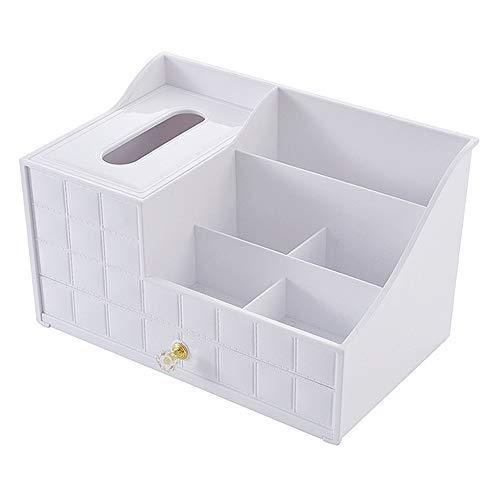 SKFG Desktop Multifunktional Schmink Aufbewahrung Kunststoff Make Up Organizer Kosmetik Aufbewahrung mit 1 Schubladen Kosmetik Veranstalter Schmuck Display Ständer,White (Veranstalter Baby-schublade)
