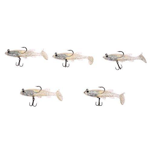 Koeder - TOOGOO(R)5 Stueck 8,5 cm 14 g Weiche Glitzernde Koeder Bleikopf Fischkoeder Bass Fishing Tackle scharfes Haken T-Endstueck
