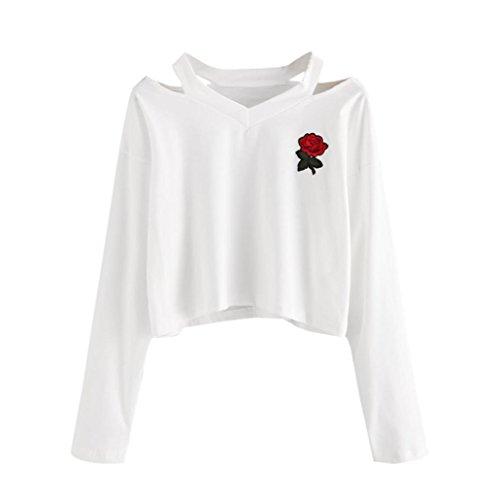 Tops,Damen Lange Ärmel Sweatshirt Rose Print Causal Tops Bluse von Sannysis (S, Weiß) (Ärmel Pullover)