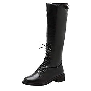 Damen Hohe Stiefel Blockabsatz Schnürstiefel Knie Hoch Stiefeletten Langschaft Reitstiefel Damenreitstiefel Schnüren Schnalle Schnürstiefeletten mit Reißverschluss