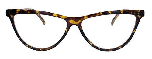 Ausgefallenes Cat Eye Brillengestell 50er 60er Jahre Vintage Stil Nerd Brille Klarglas Party Fasching Karneval CN22 (Hornbrille)