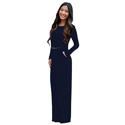ROPALIA Boho Maxi Robe de soirée Cocktail Femme Robe de Plage Eté Manche Longue(Sans Ceinture) Bleu Foncé