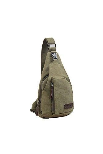 YOIL Herren Handtasche Schultertasche Brust-Tasche Messenger Bag Leinwand Sporttasche (Army Grün)