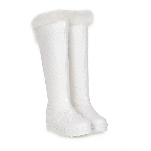 VogueZone009 Damen Ziehen Auf Schließen Zehe Hoher Absatz Hoch-Spitze Stiefel Weiß