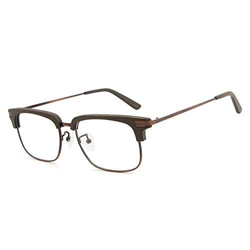 Frame Männer und Frauen Holzmaserung Flat Glasses Frame Retro Half Frame Brille Brille (Color : 02braun, Size : Kostenlos)