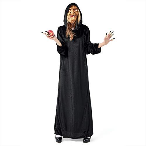 INLLADDY Halloween Kostüm Unisex Damen Herren Hexen Kleid Gruseliger Effekt Kleid Cosplay Costume Set Kleid +Hut + Fingerhülse Schwarz - Süße Feiertags Kostüm
