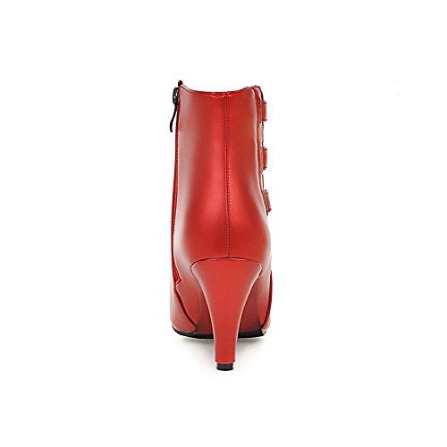 VogueZone009 Donna Cerniera Scarpe A Punta Tessuto Perla Bassa Altezza Stivali con Metallo Rosso