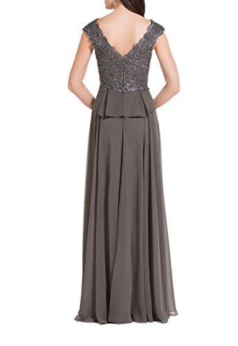 Charmant Damen Dunkel Grau Spitze Chiffon Abendkleider Partykleider Brautmutterkleider Lang A-linie Fuchsia