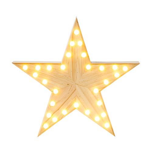 Talking Tables estrella grande con luces LED. Hecho de madera, de estilo nórdico. Luz decorativa para la decoración del hogar o para una fiesta.