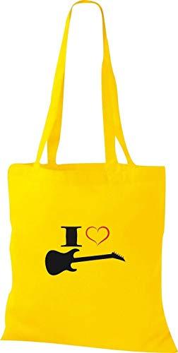 Shirtstown Stoffbeutel Musik I love E-Gitarre, gelb