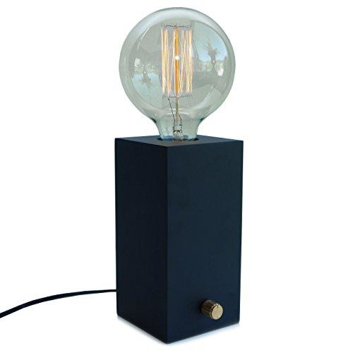 Glühbirnen Dimmer (Design Tischlampe EDISON aus Holz mit Dimmer)