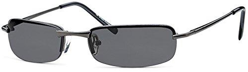 Eg-Fashion Herren Rechteck- Sonnenbrille Metallbrille mit Federscharnier UV400 Filter- Im Set mit Etui (Gestell: Anthrazit/Gläser: Grau)