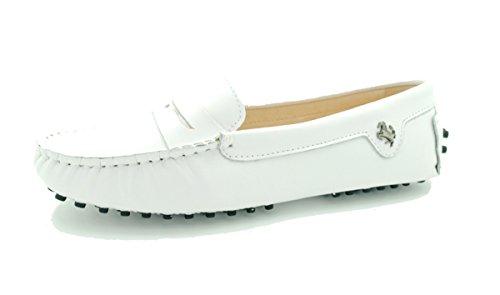 MINITOO Mädchen Damen Casual Wildleder Fahren Outdoor Boot Schuhe Slipper Mokassins, Weiß - Leather-White - Größe: 38