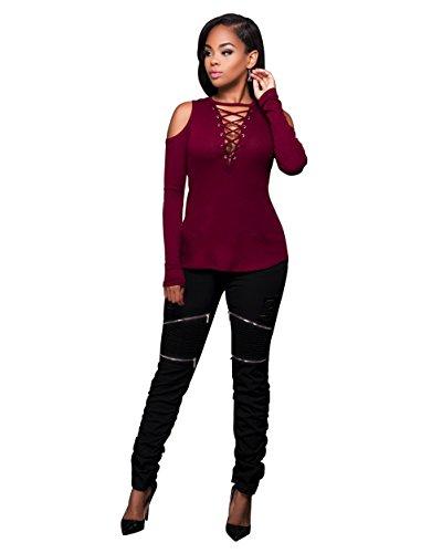 Femmes Sexy Strapless V-cou Bandage Croix à manches longues Chemise Slim Top Blouse Rouge