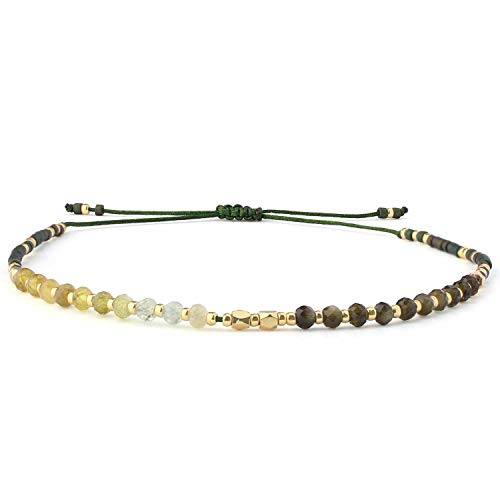 C.QUAN CHI Gewebte Strand Armband Frau String Sead Perlen Wachs Seil Handgefertigt Geflochten Einstellbar Armband Frau Geschenke (01-Grün)