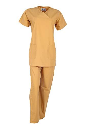 Cotton Twill Nurse Uniforms - Idle for Medical scrubs for Women   Scrub suit for Women   Scrub Suit for Nurses   Hospital Uniform, DSVX Mustard_XXL