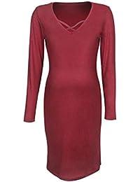 d1e8aebc93c7 Yazidan Damen Schwangerschaft V-Kragen Langarm Kleid Etuikleider Einfarbig  Minikleid Maternity Solid Color Sundress Skaterkleid