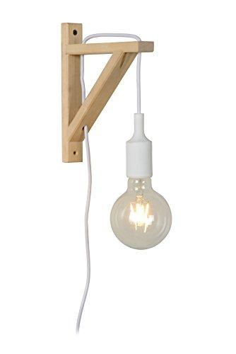 Lucide Fix Wall-Lámpara de pared de color blanco, Madera, E27, 60W, White, 19x 3.2x 22.5cm...