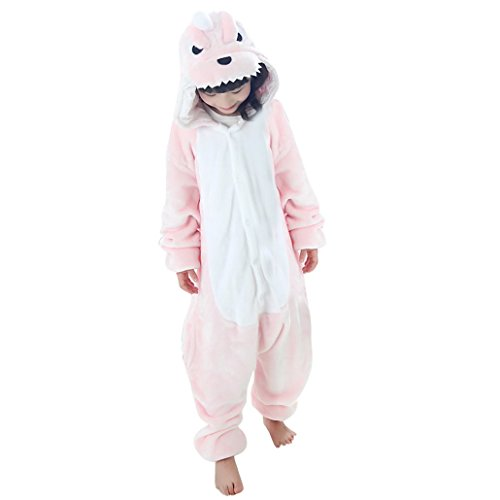 Happy Cherry - Fille Enfant Pyjamas Grenouillère Cosplay costume Onesie Animal en Flanelle - Dinosaur - Taille 125(10-11ans) - Rose