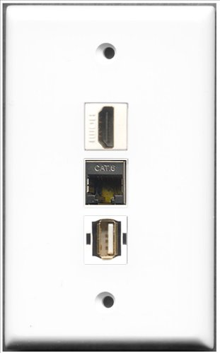 Decorator 1 Jack Single Gang (RiteAV - 1 Port HDMI + 1 Port USB A-A + 1 Port, geschirmt, Cat. 6 Ethernet Wall Plate)