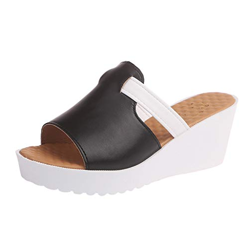 Deloito Damen Mode Freizeit Pantoletten Runder Kopf hoher Absatz Sandalen Keile Dicke Plattformen Strand Schuhe Outdoor Hausschuhe (Schwarz,34 EU) -