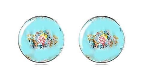 tizi Schmuck 925Sterling Silber Blau Rosen Ohrring Ohrstecker 12mm Handgefertigt
