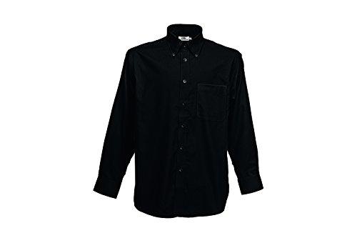 Fruit of the Loom Herren Freizeithemd Long Sleeve Oxford Shirt Schwarz (Black 36)
