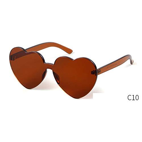 ZRTYJ Sonnenbrille Herzform Sonnenbrille Frauen randlose Rahmen Liebe cat Eye Sonnenbrille Bunte rot rosa lila gelb Shades