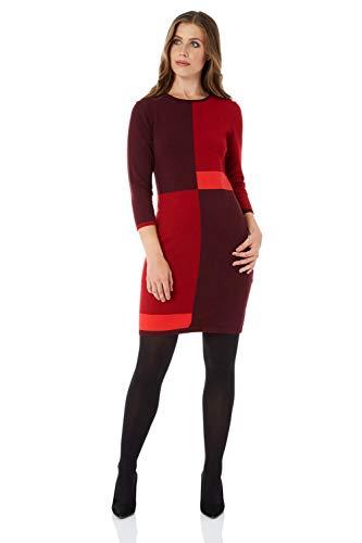 Roman Originals Damen Kleid im Farbblock-Design - Stretch-Stricktunika mit rundem Ausschnitt, 3/4-Ärmeln, Knielang, Winter, Herbst, für tagsüber, zum Ausgehen, elegant - Rot - Größe 44